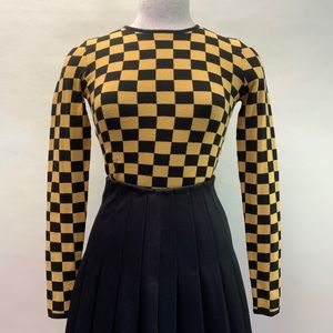 Yellow and black checker crop sweater